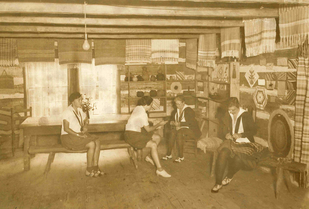 1930s image inside of crafts camp log cabin