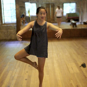 Girl dance move at camp