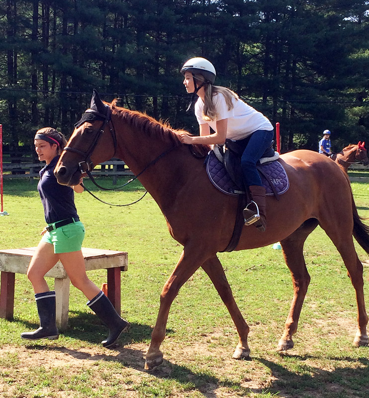 girls horseback rider in two-point position