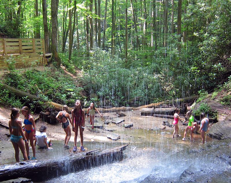 Kids Playing Under Waterfall