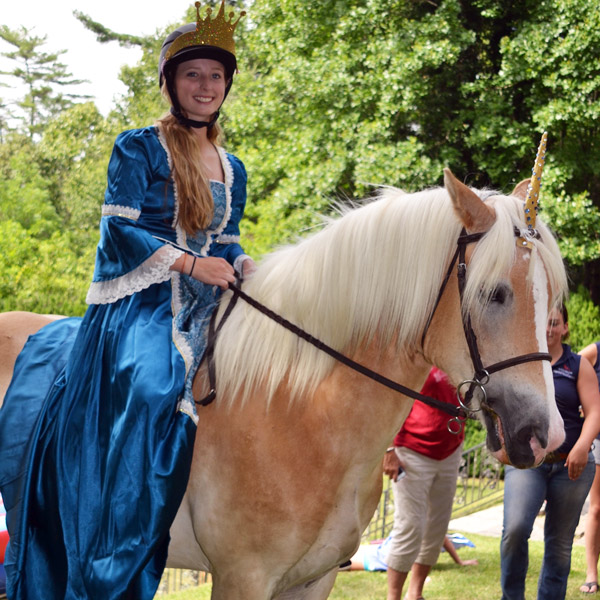 Lady Mary on horseback