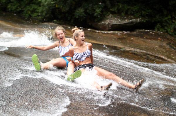 Sliding Rock smiling girls