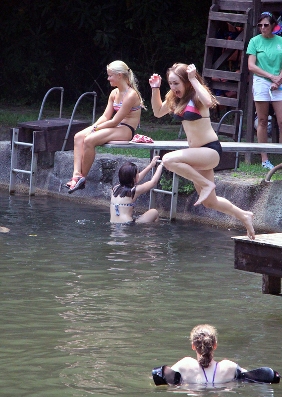 Swim test girl jumps in lake