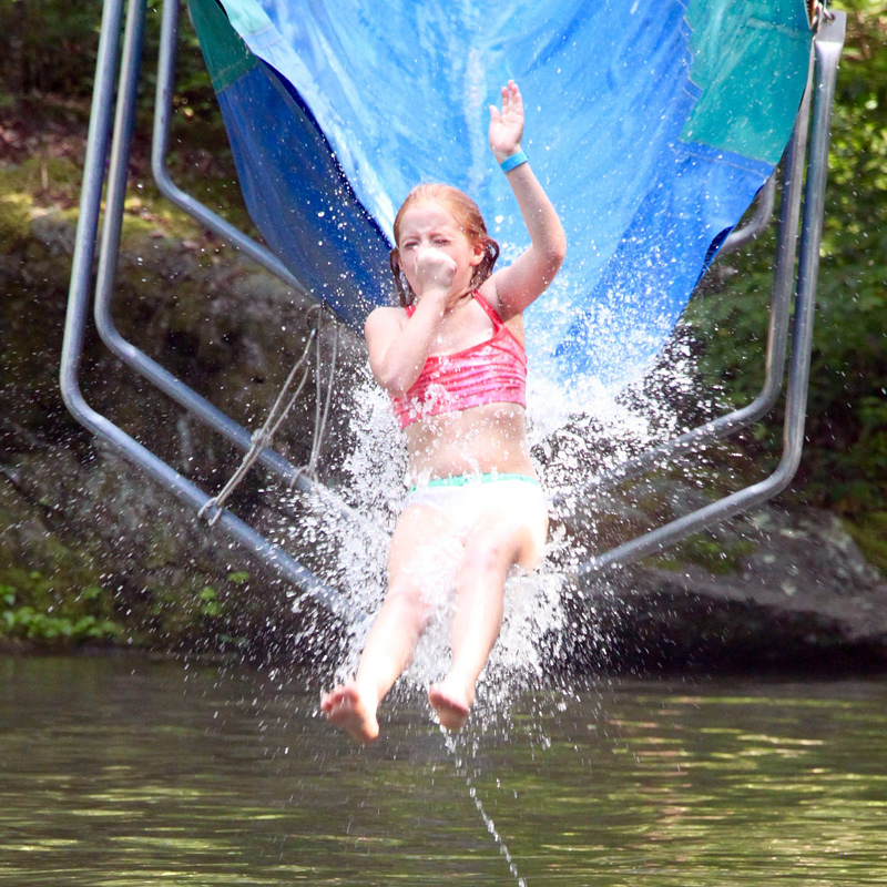 Summer camp water slide girl
