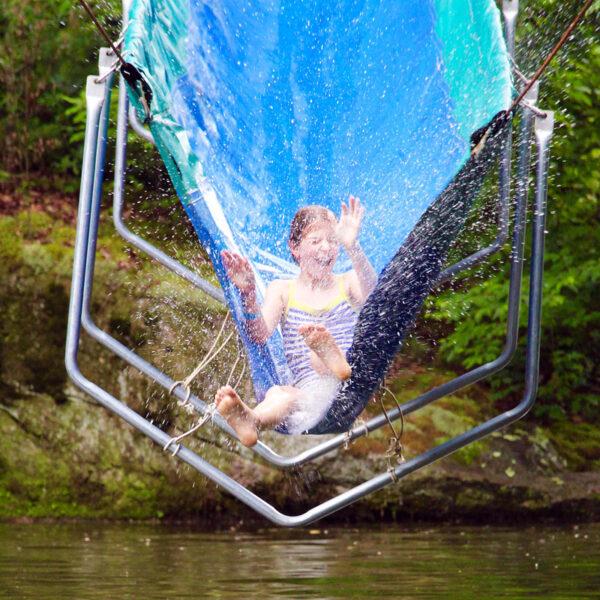 camp water slide splashing