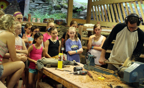 George Peterson giving a wood turning demonstration