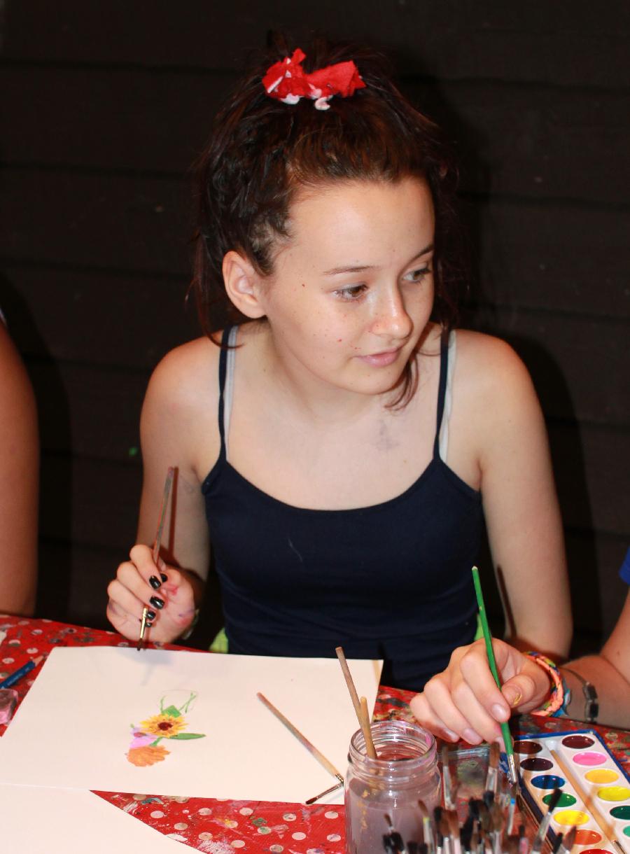 Painting Girl at summer camp