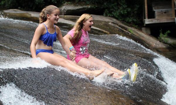 Pair of Sliding Rock girls