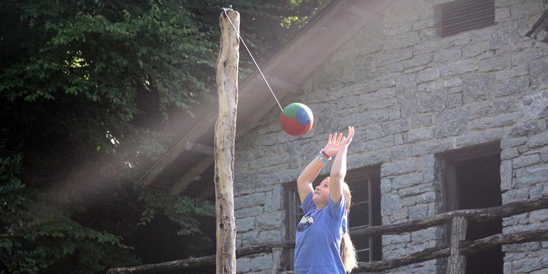 girl playing tetherball