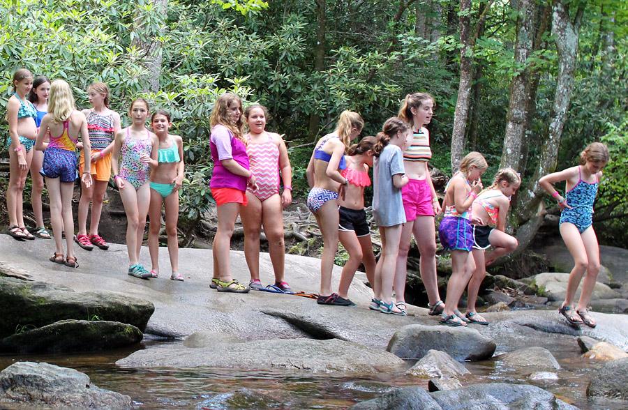 Camp Girls at Sliding Rock