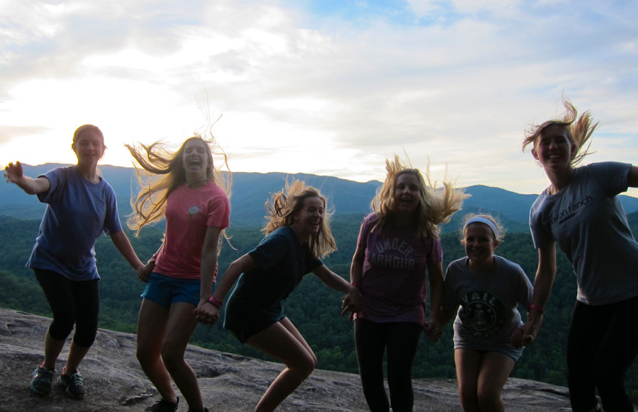 Girls hiking on John Rock