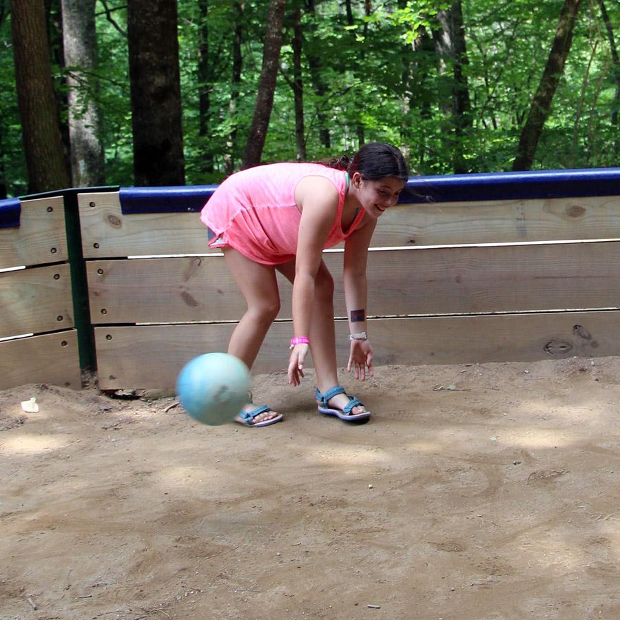Gaga Ball playing kid