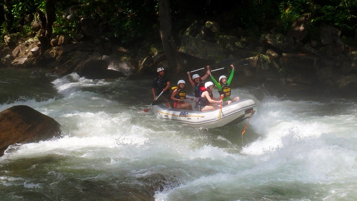 Rafting Celebration in a Rapid