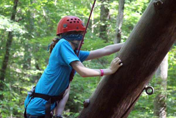 Camp Tower climbing blindfolded