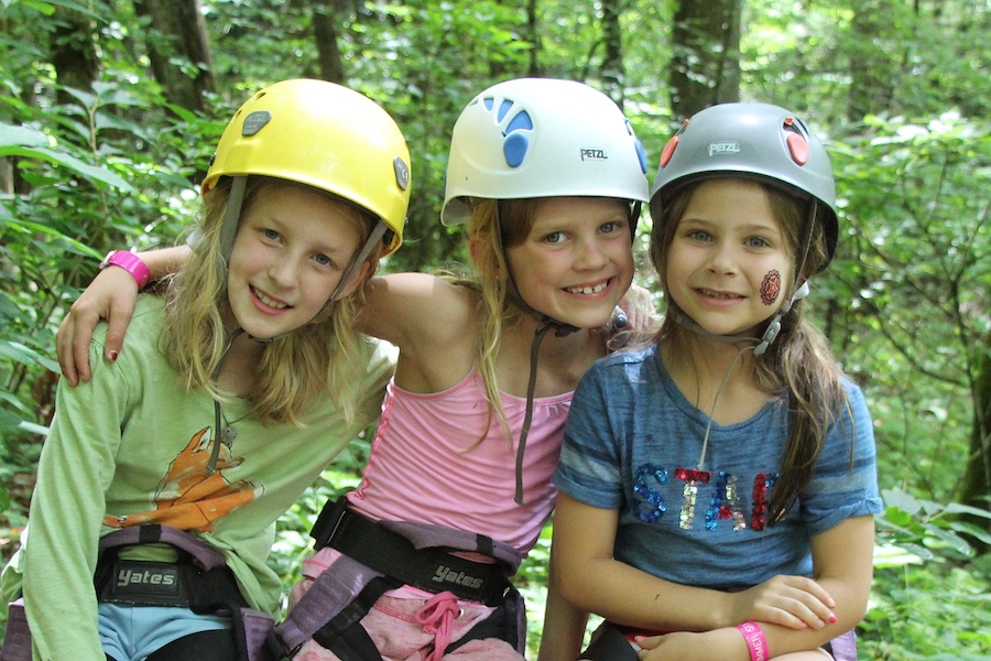 adventure kids with climbing helmets