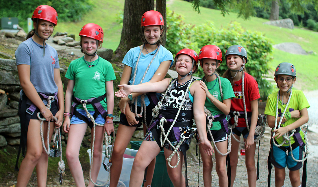 Girls camp zipline crew