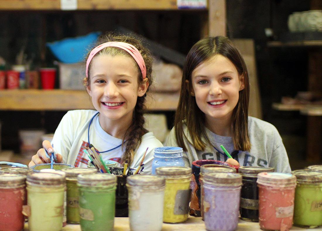 Pottery Glazing Girls