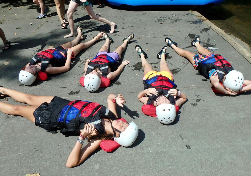Rafting girls warming in the sun