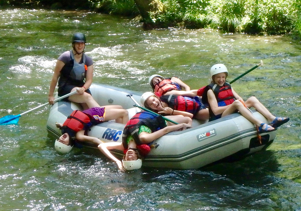 Silly rafting girls