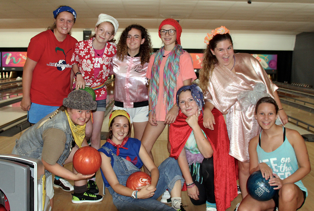 teen girls dressed for bowling