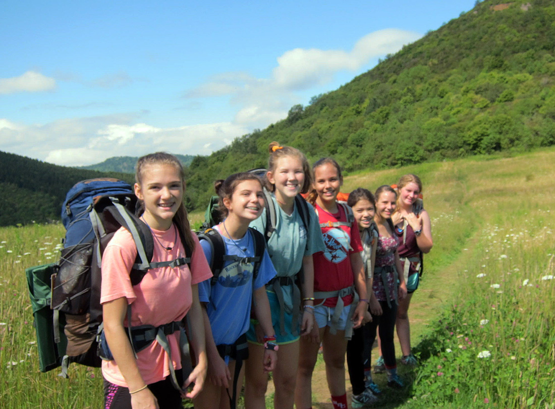 Camp adventure backpacking girls