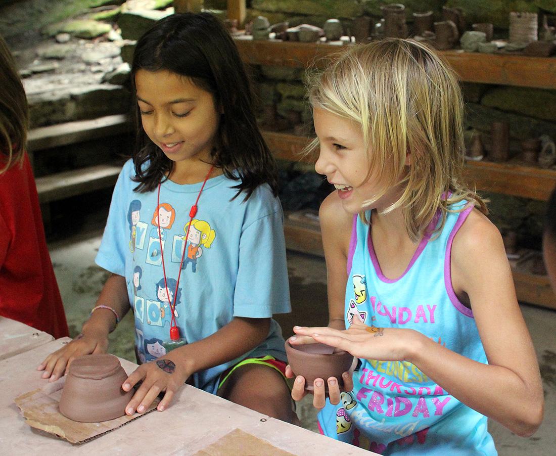 girls camp pottery class