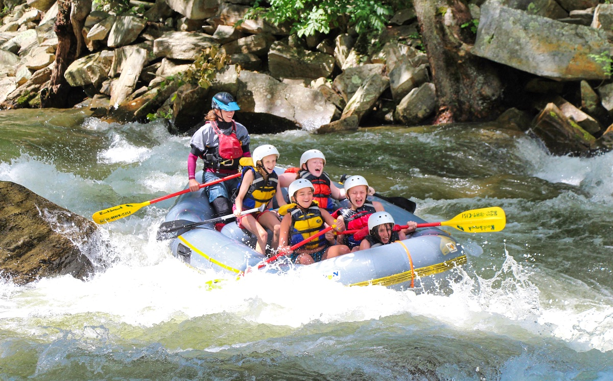 Nantahala rafting camper girls