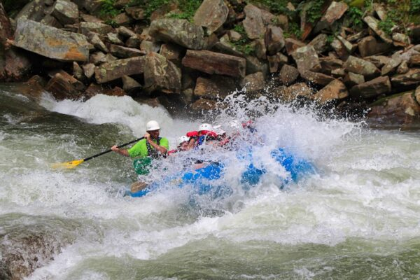 rafting splash on rapid