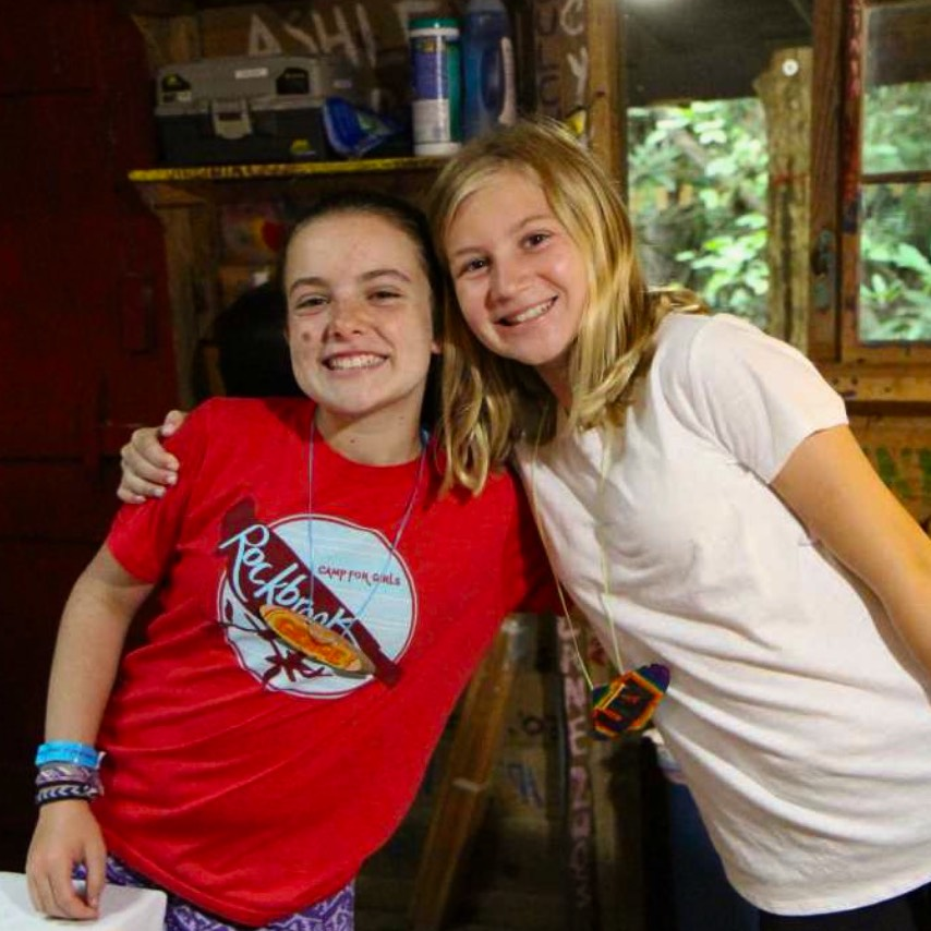 camp girls hugging as friends
