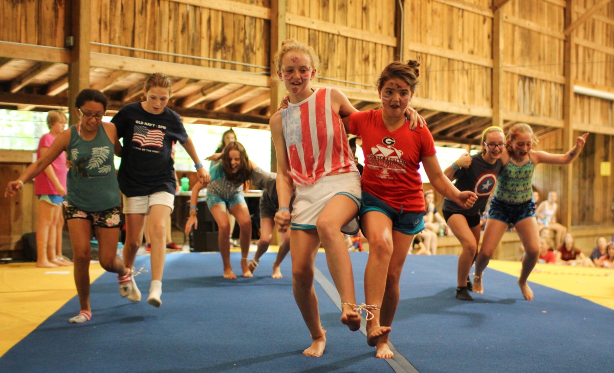 Camp girls 3-legged relay race