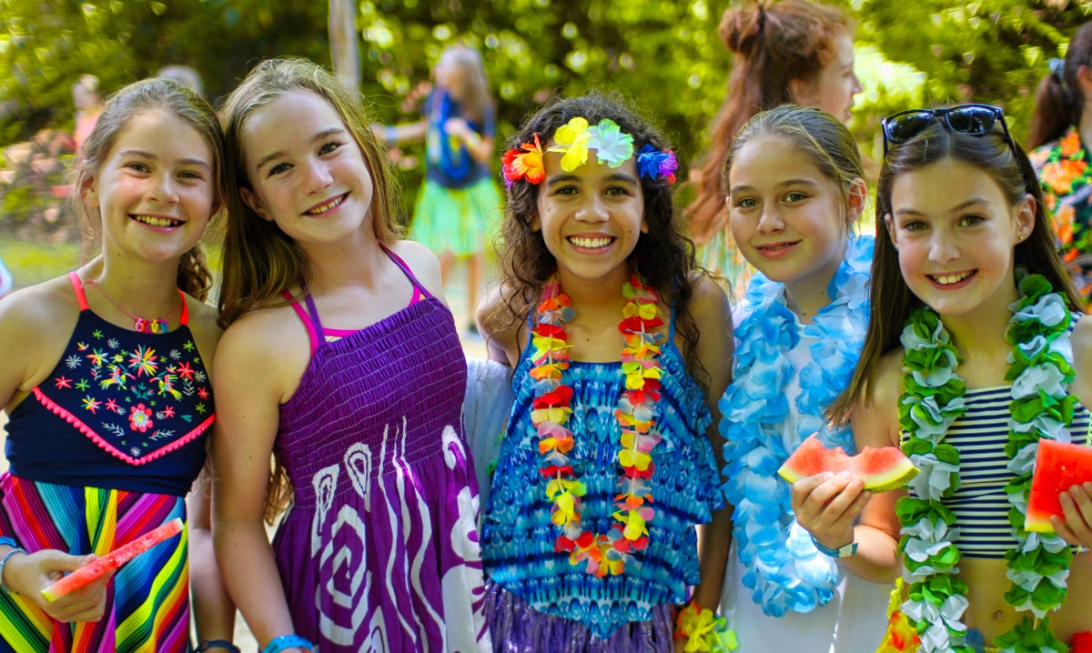 summer camp luau girls