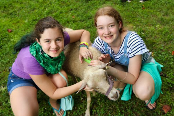 Girl camps with sheep