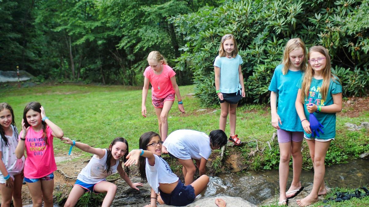 camp free time at creek