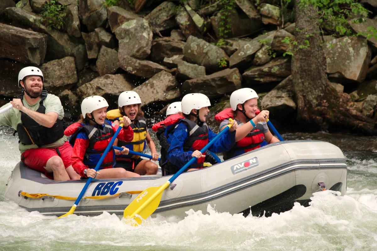 summer camper rafting