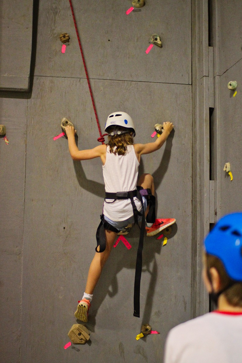 indoor climbing wall girl