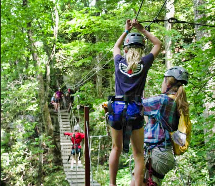 girl on adventure bridge