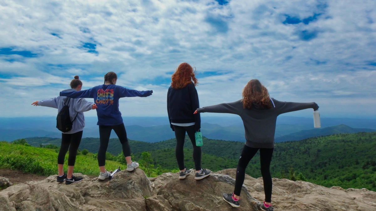 girls on top of Black Balsam mountain