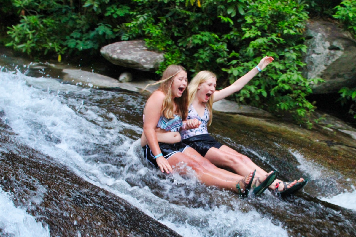 screaming girls on sliding rock