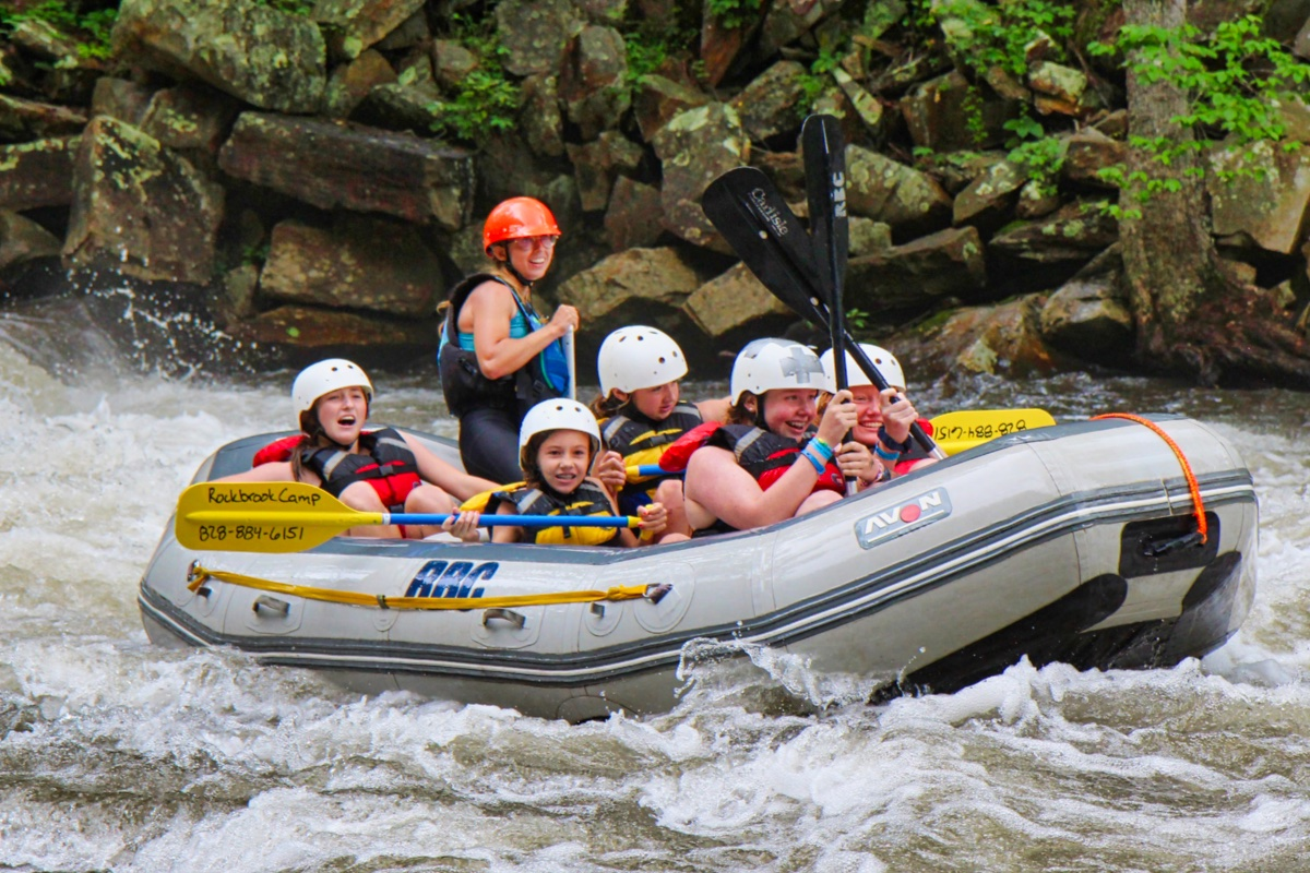 teen girls rafting