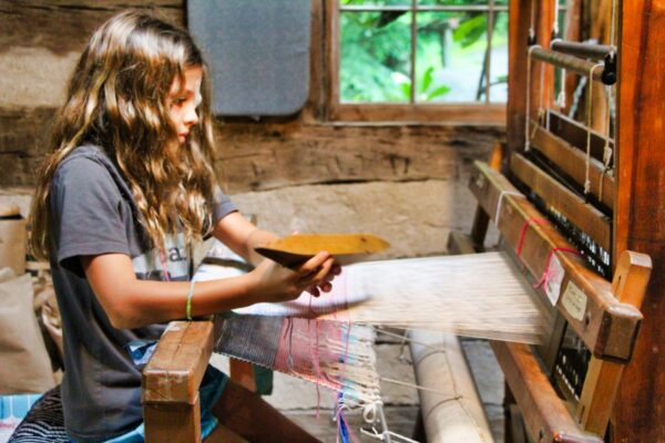 weaving kid at camp
