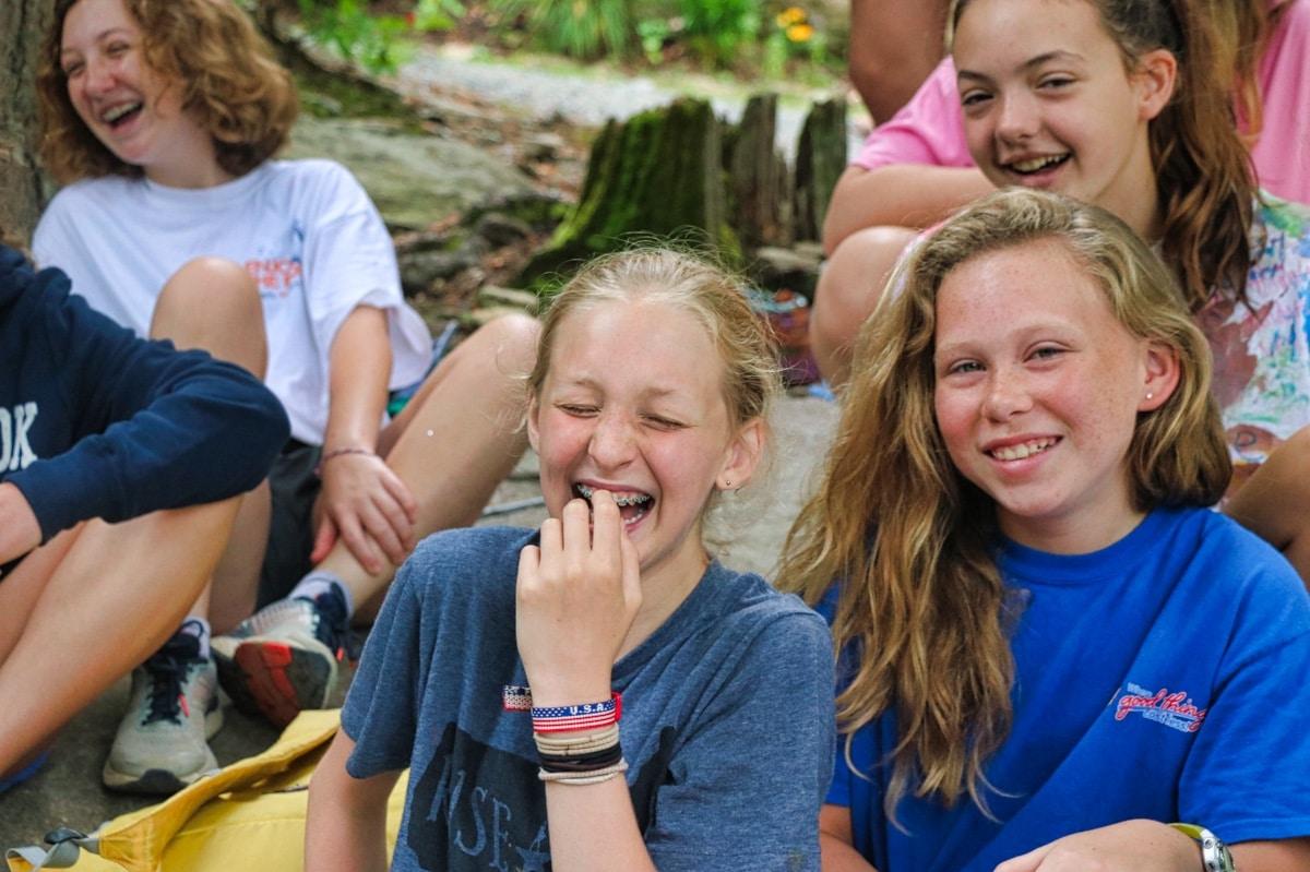 friends bonding at summer camp