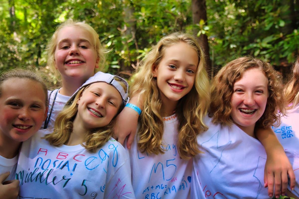 group of summer camp teenage girls
