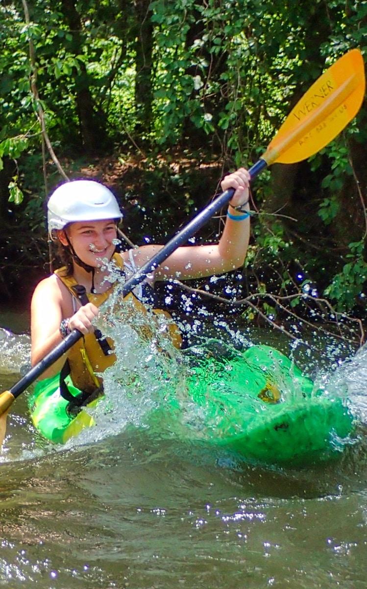 child whitewater kayaking camp