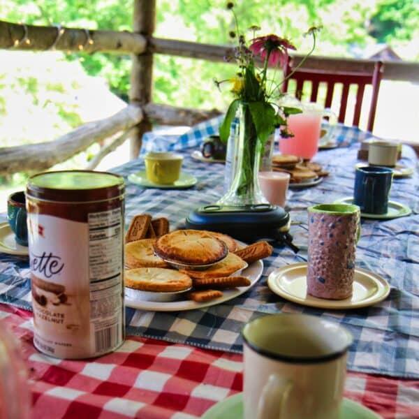 tea party set on porch