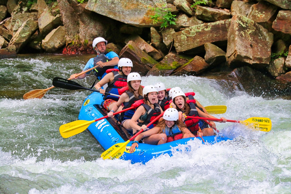Whitewater rafting girls on the Nantahala falls