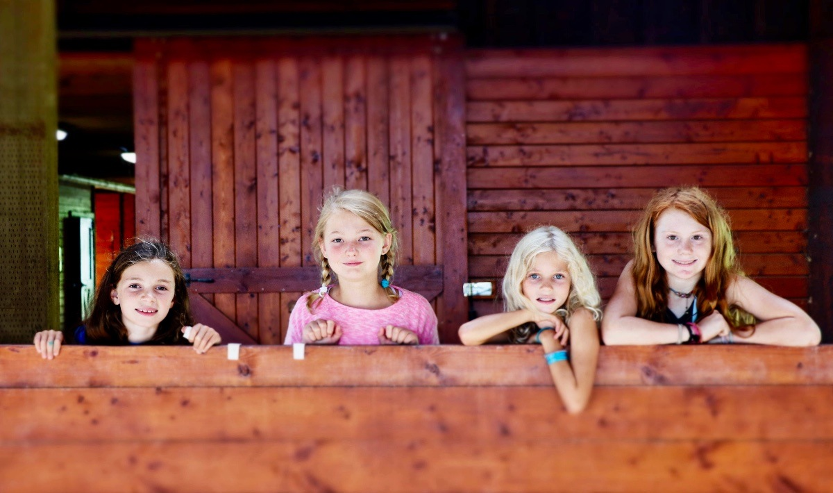camp girls at the horse barn