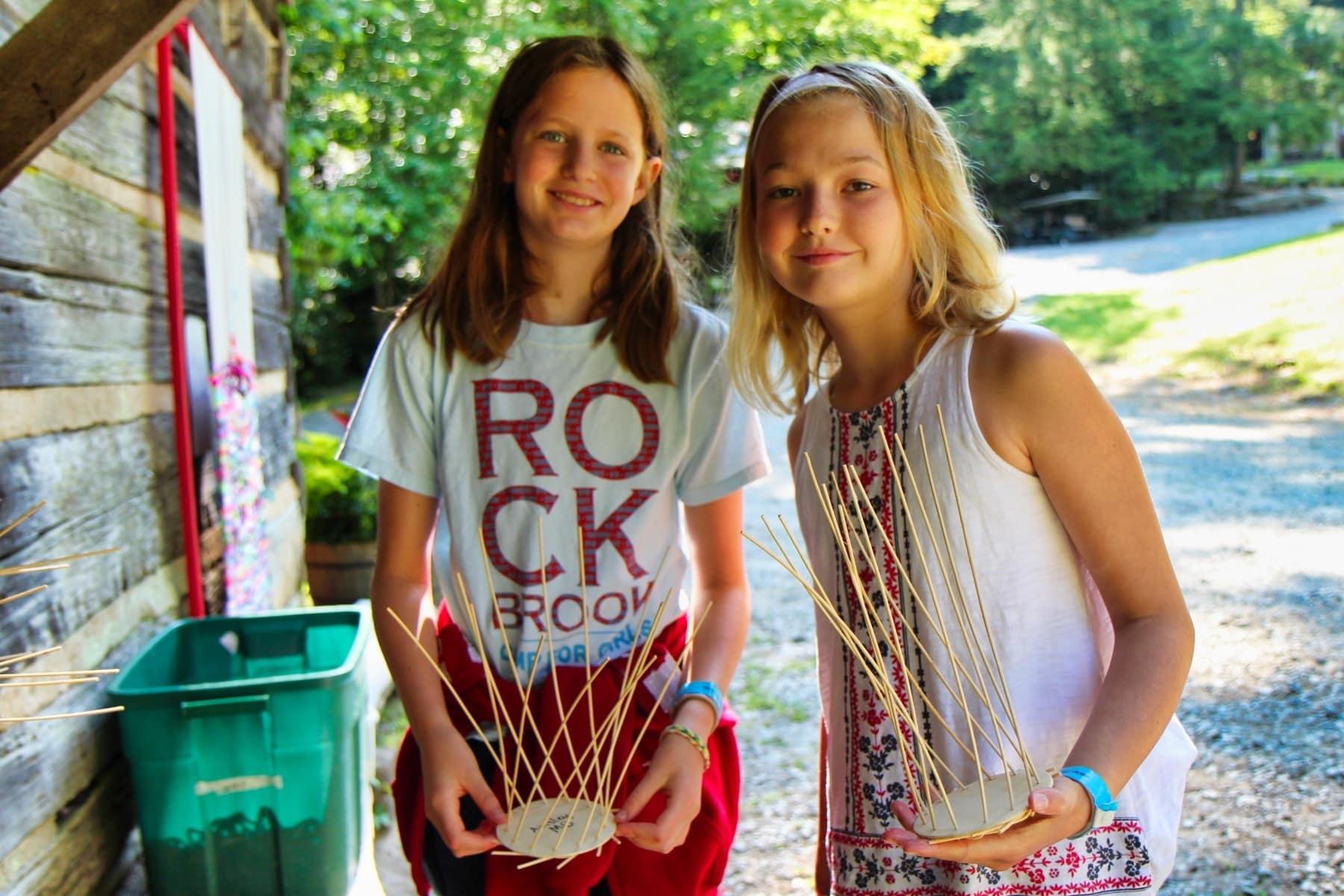 basket weaving kids at summer camp