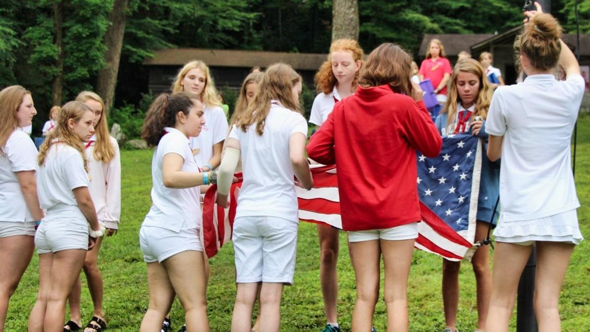 flag raising at camp