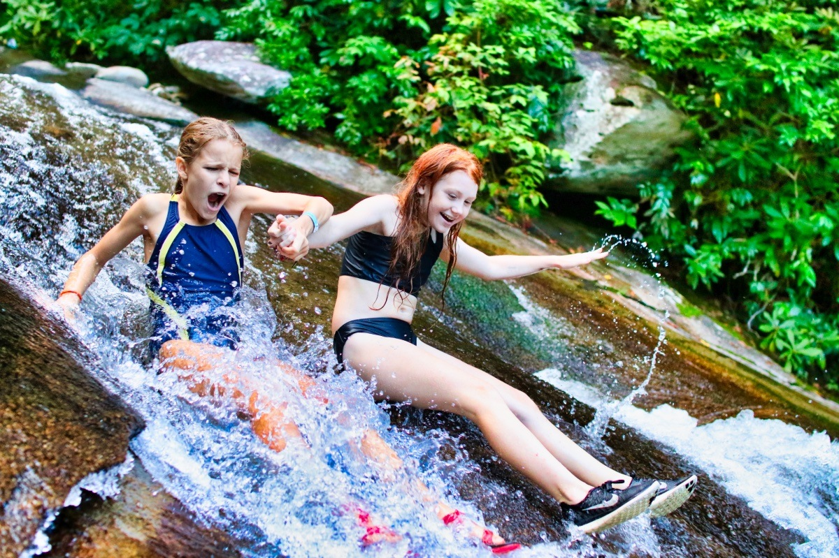 pair of girls on sliding rock NC