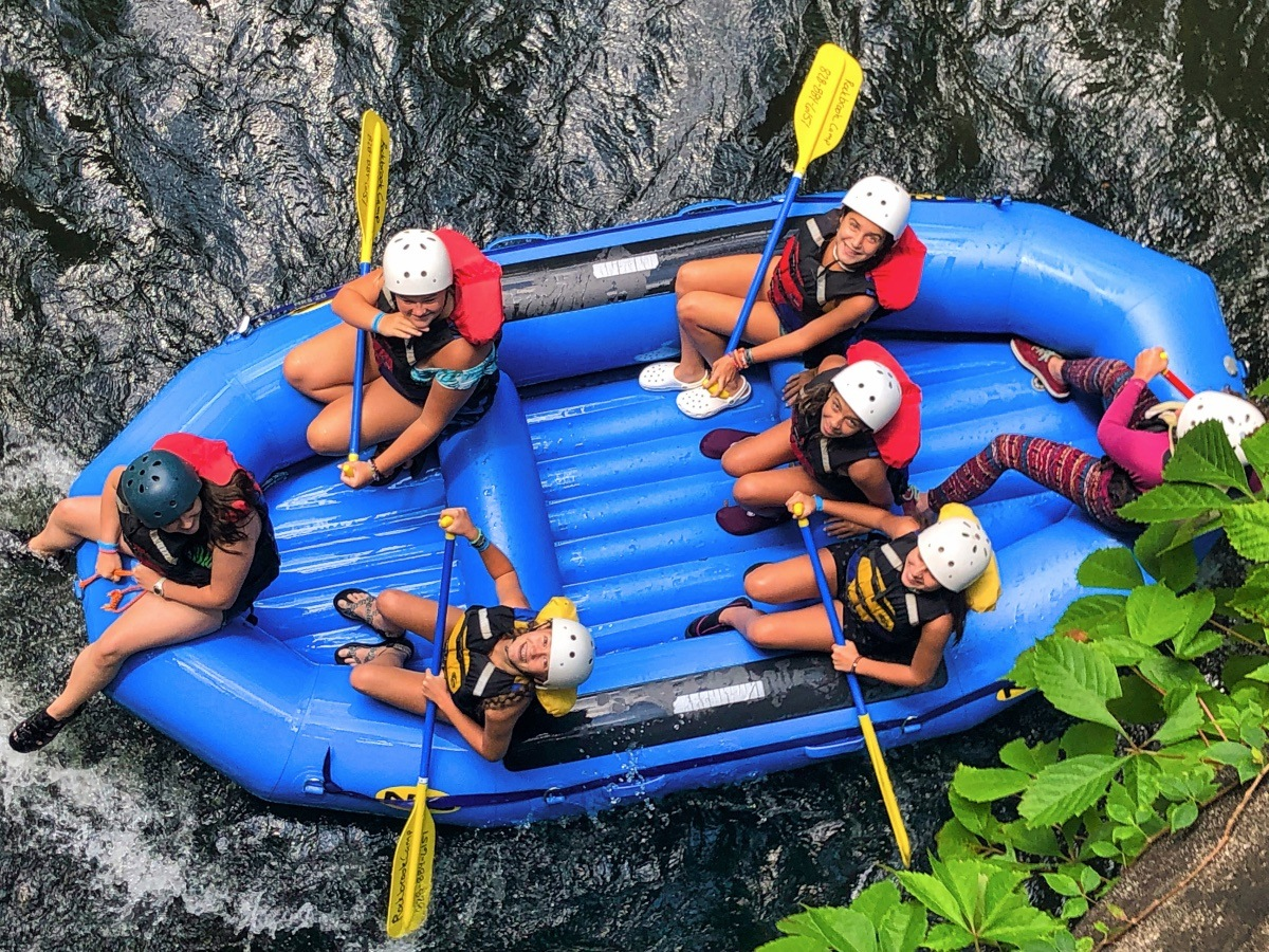 whitewater raft from above
